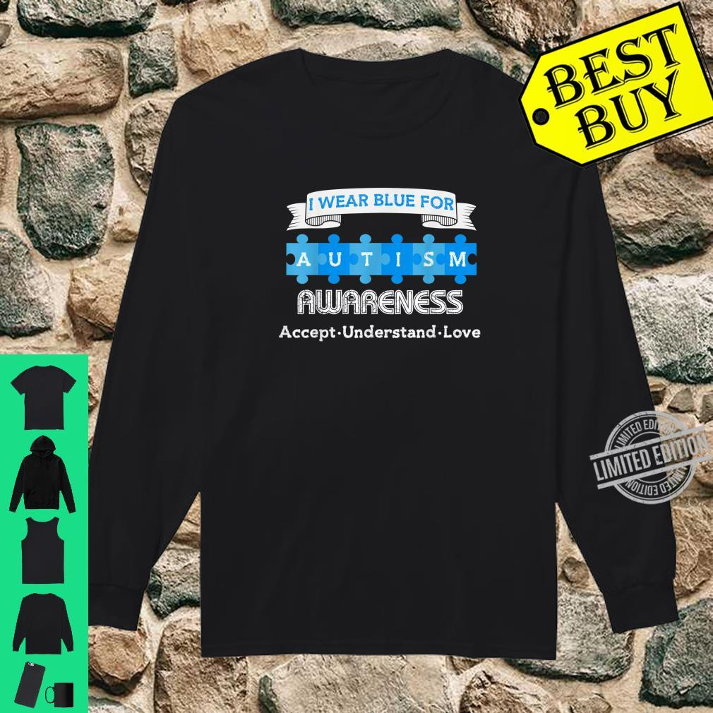 Autism Month I Wear Blue For Autism Awareness Quotes Puzzles Shirt long sleeved