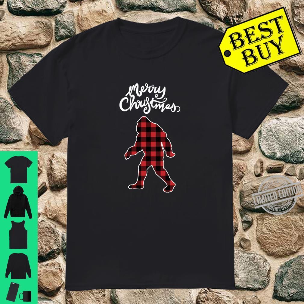 Bigfoot Merry Christmas Sasquatch Buffalo Plaid Shirt