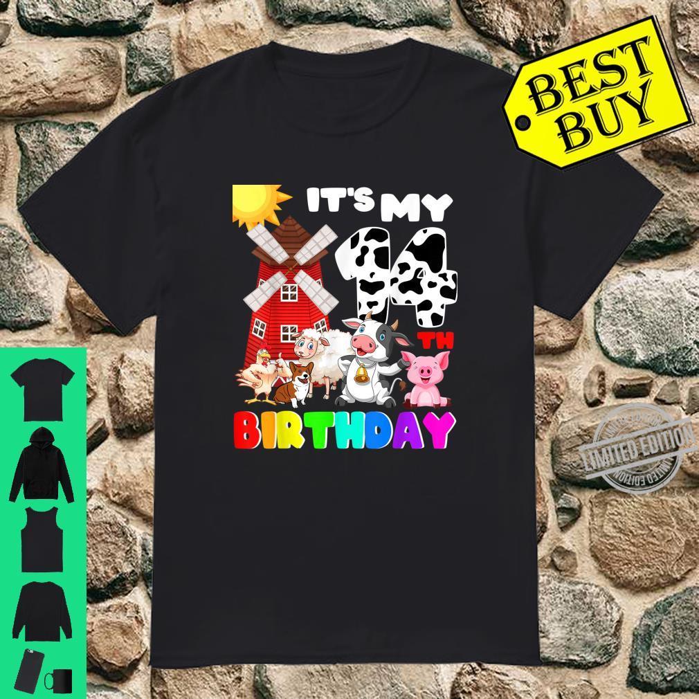 Birthday Farmer Theme Animal 14 Years Old Shirt