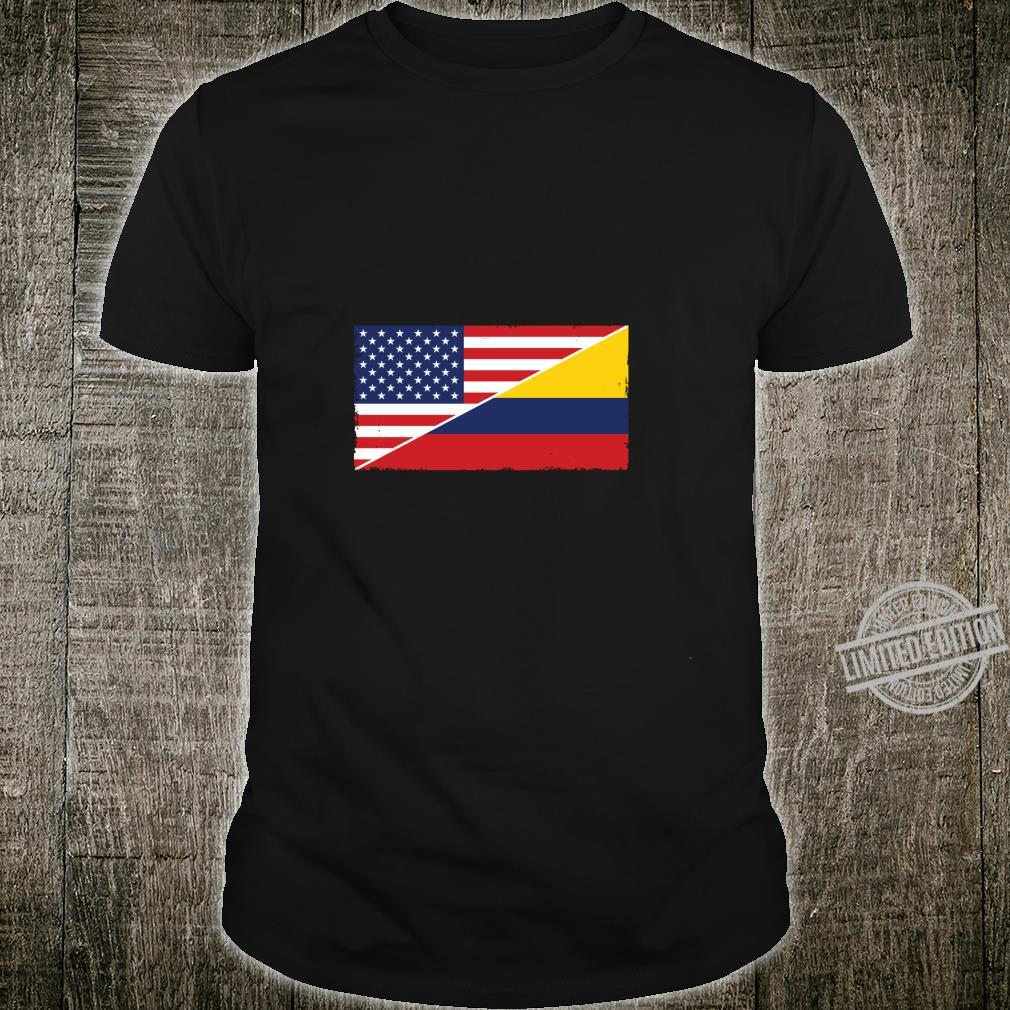 Colombia Flag and USA Flag Roots Colombian Ancestry American Shirt