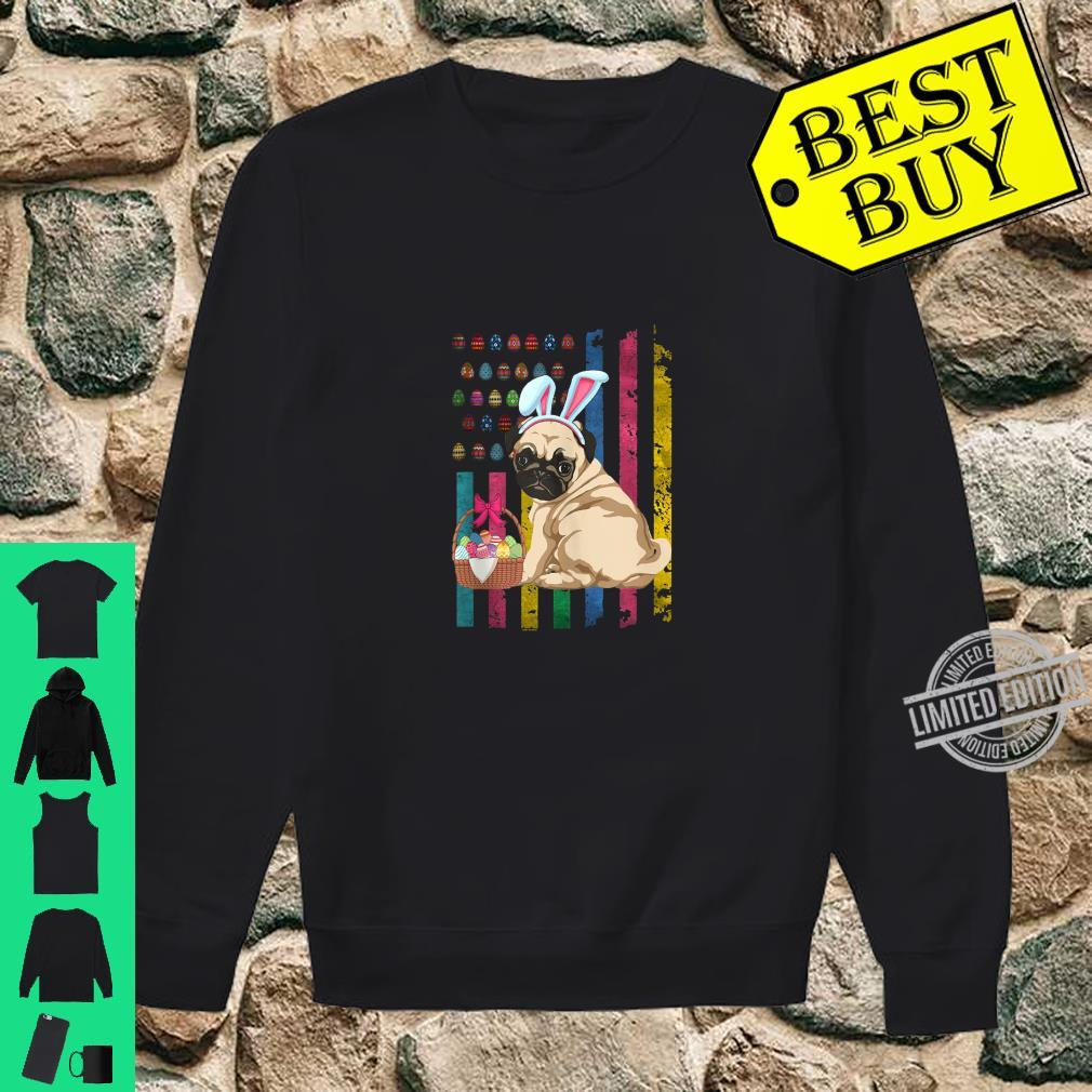 Easter American FlagFunny Pug Bunny Easter Shirt sweater