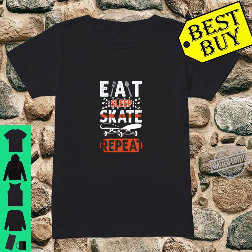 Eat Sleep Skate Repeat Retro Vintage Skateboarder Shirt ladies tee