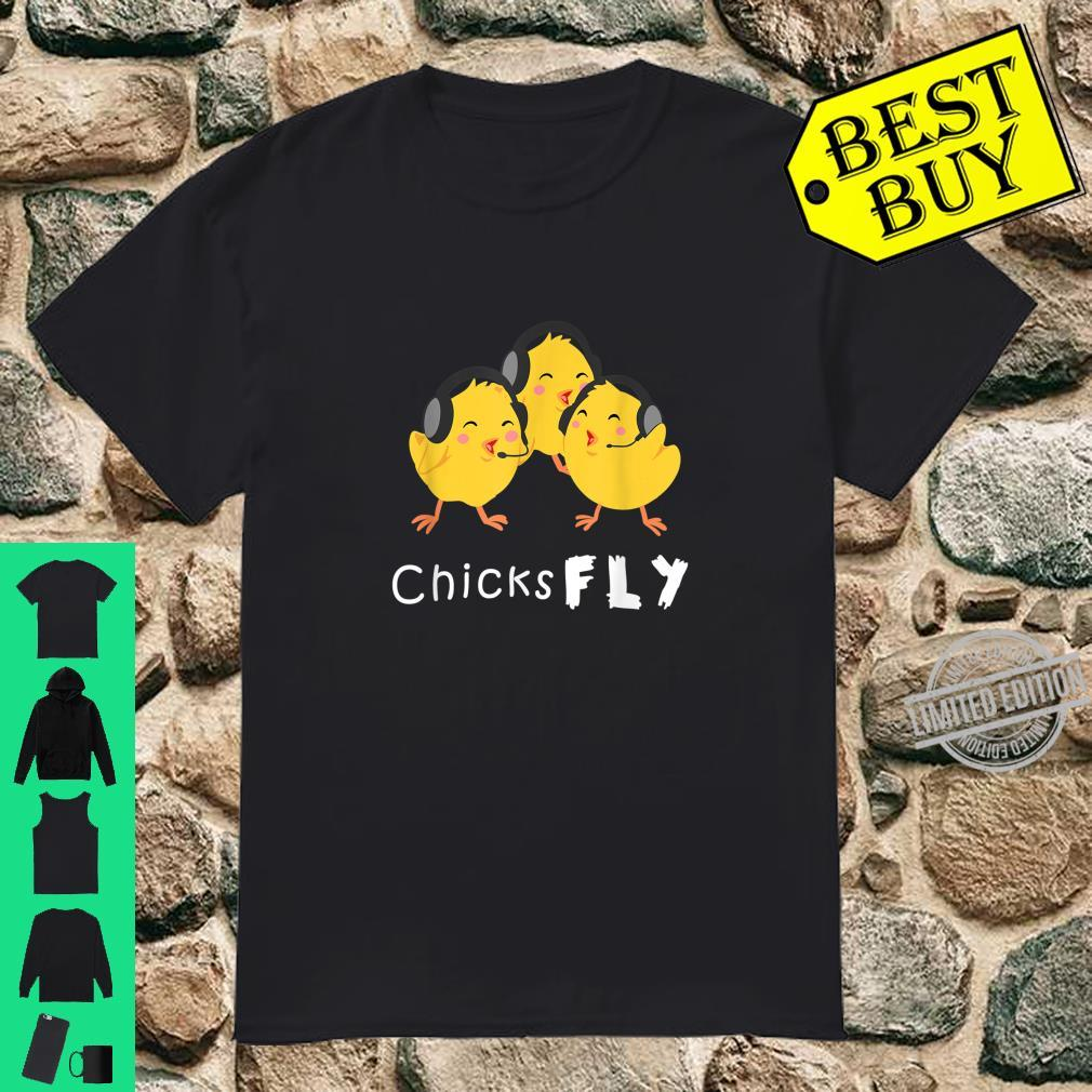 Female Pilot Jet Airplane Aviation Chicks Fly Shirt