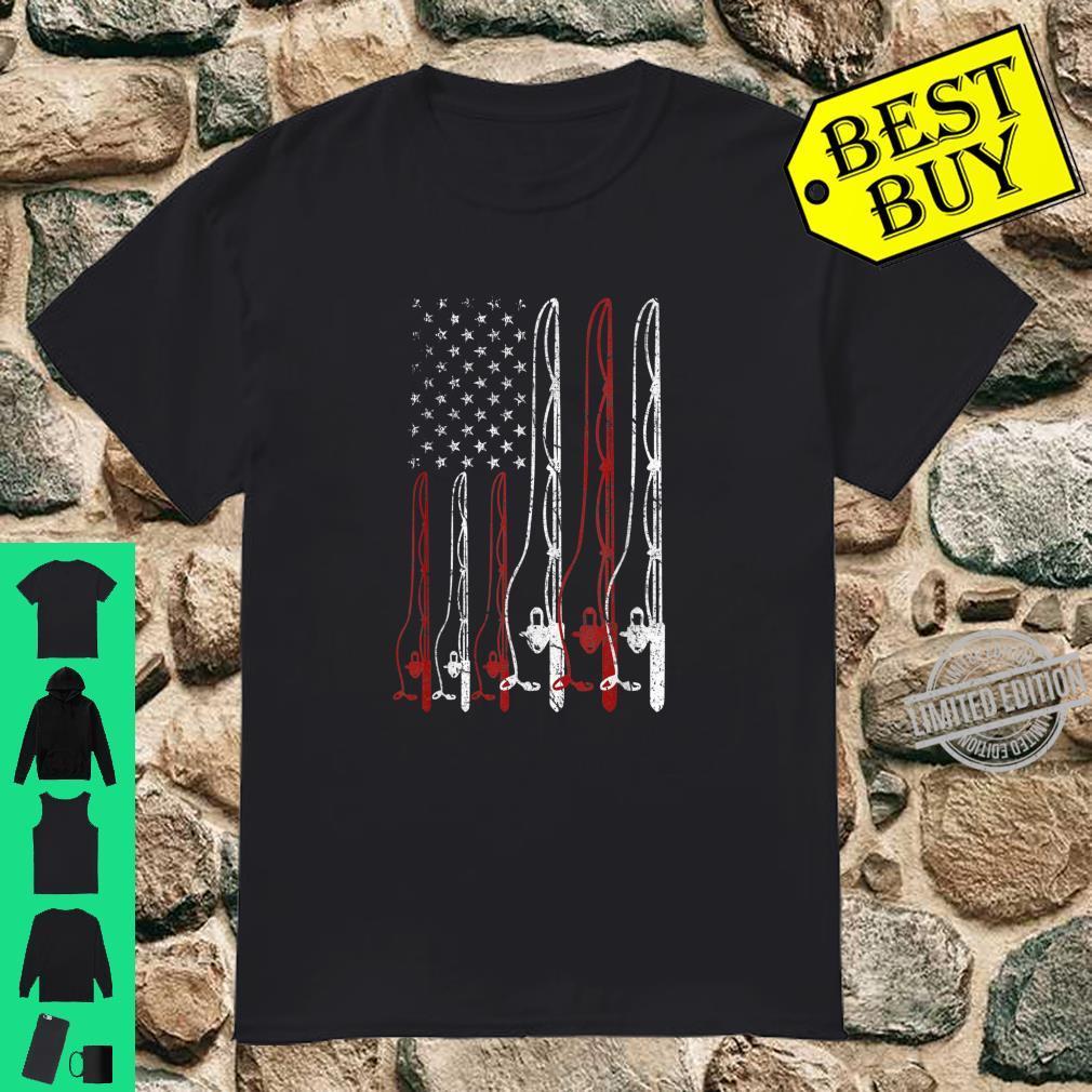 Fishing Shirt Dad Grandpa USA Flag Fisherman Fathers Day Shirt