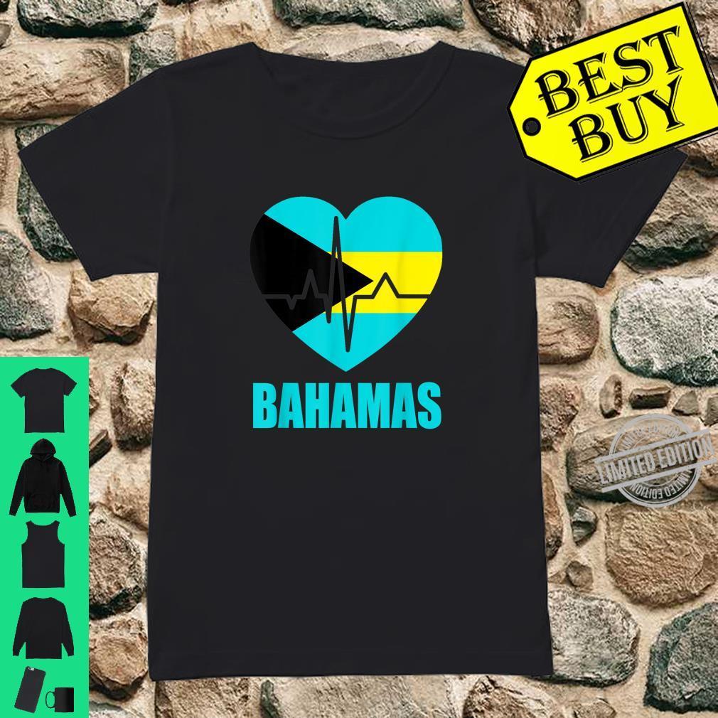 Flagcastle Bahamas Love Heartbeat Gift Flag Pride Shirt ladies tee