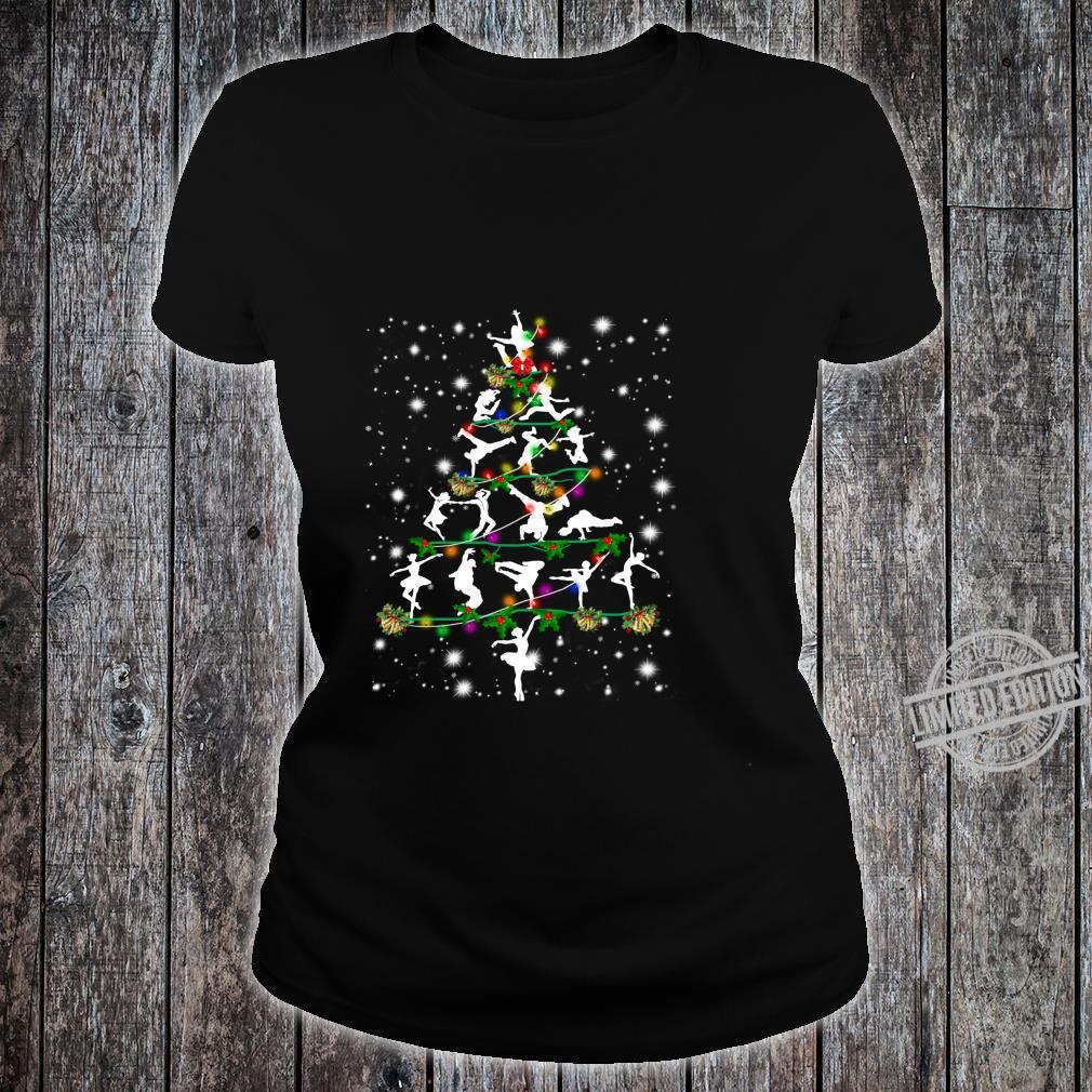 Funny Dance Christmas Tree Group Christmas Party Pajama Shirt ladies tee