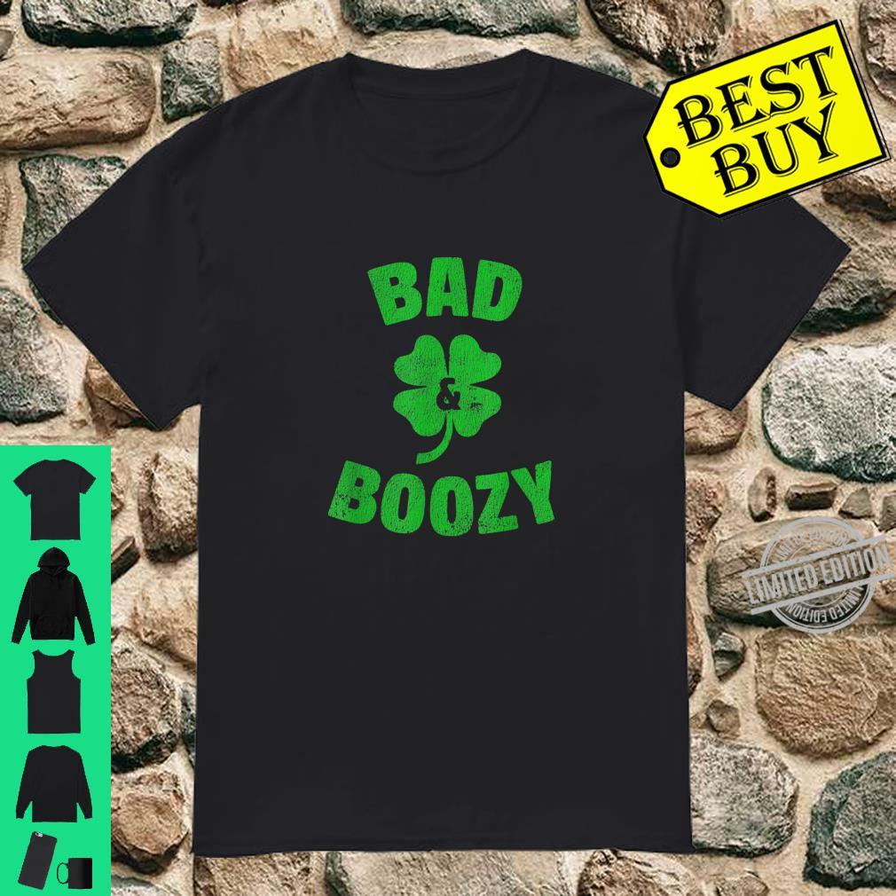 Funny Drinking St Patricks Day Bad and Boozy Bachelorette Shirt