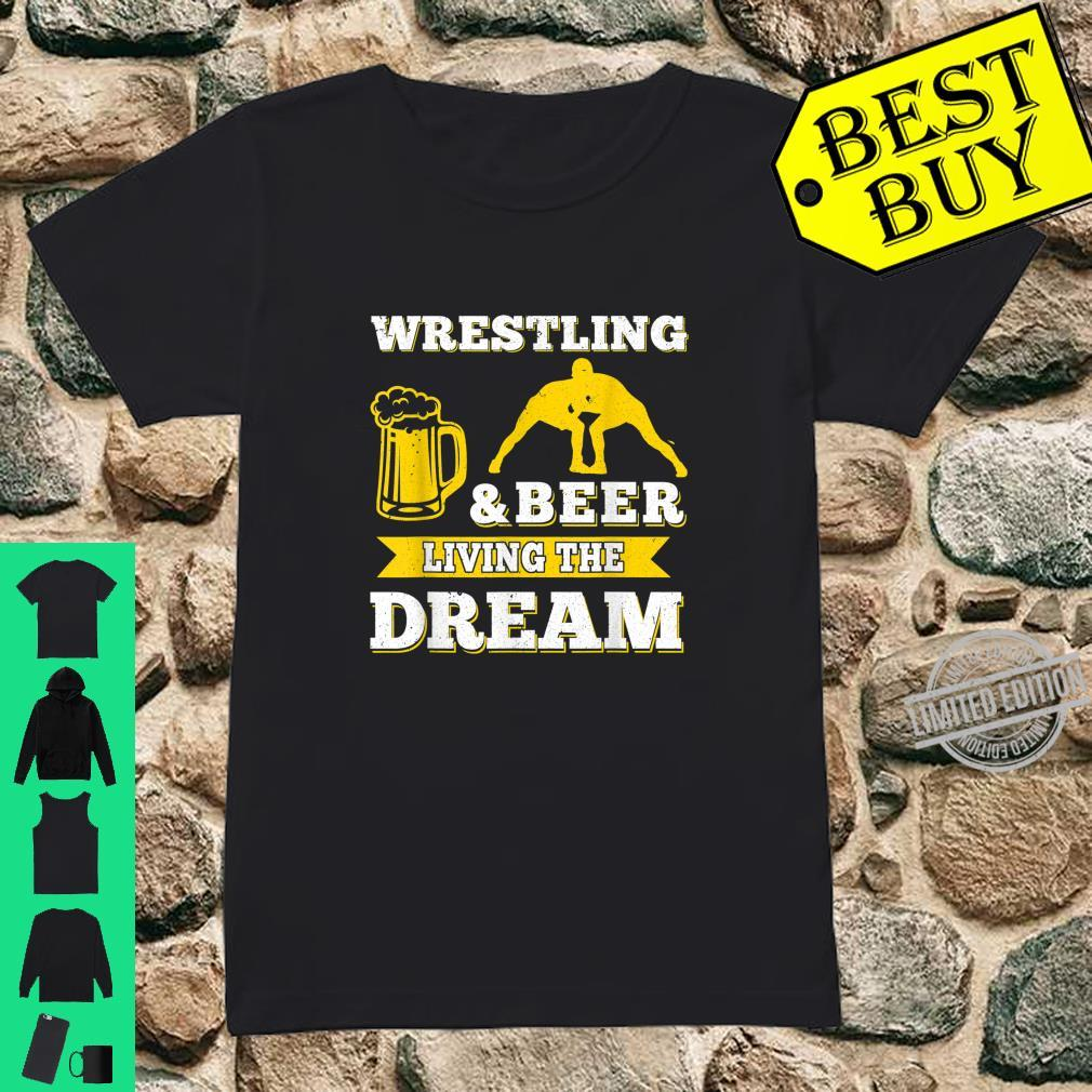 Funny Wrestling And Beer Drinking Oktoberfest Month Shirt ladies tee