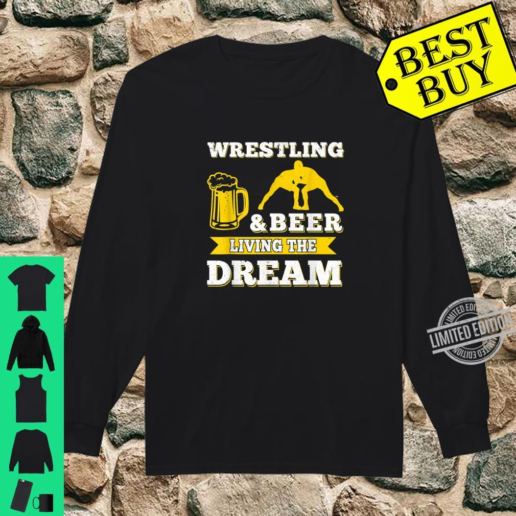 Funny Wrestling And Beer Drinking Oktoberfest Month Shirt long sleeved