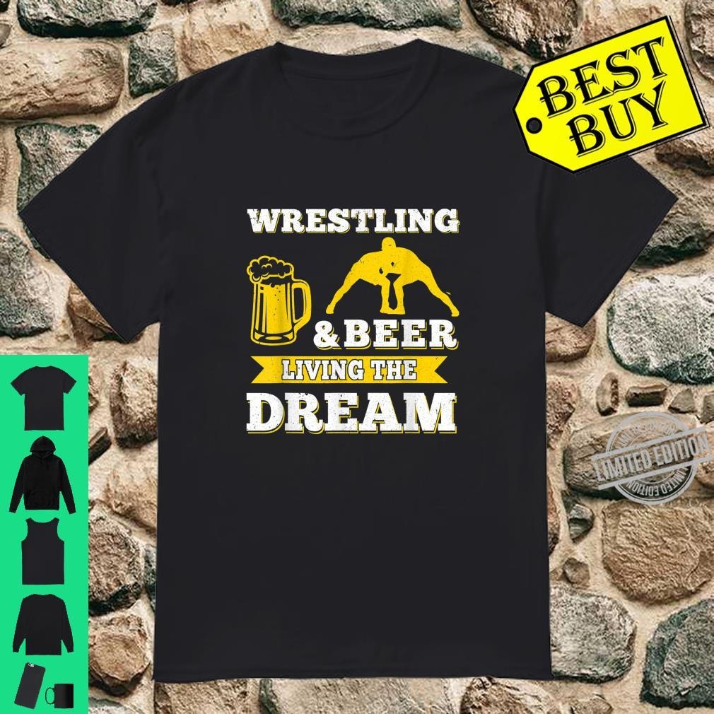 Funny Wrestling And Beer Drinking Oktoberfest Month Shirt