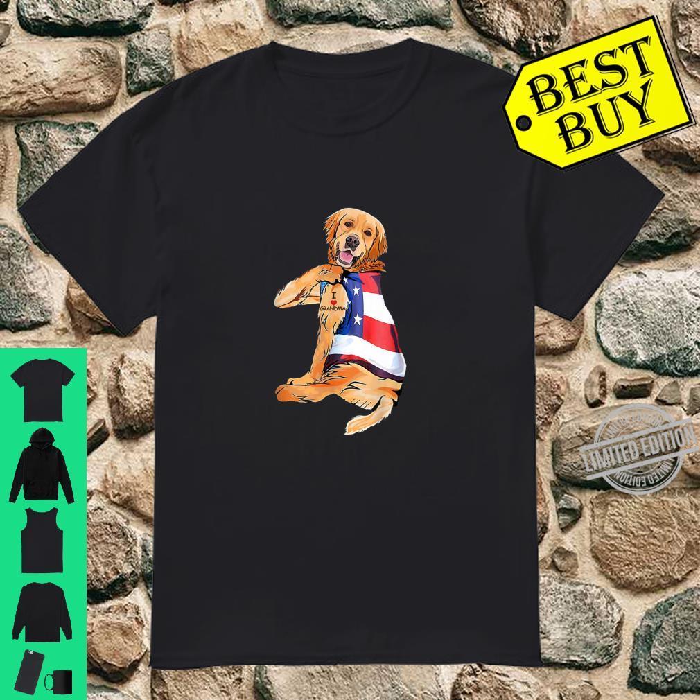 Golden Retriever Dog Tattoo I Love Grandma Independence Day Shirt