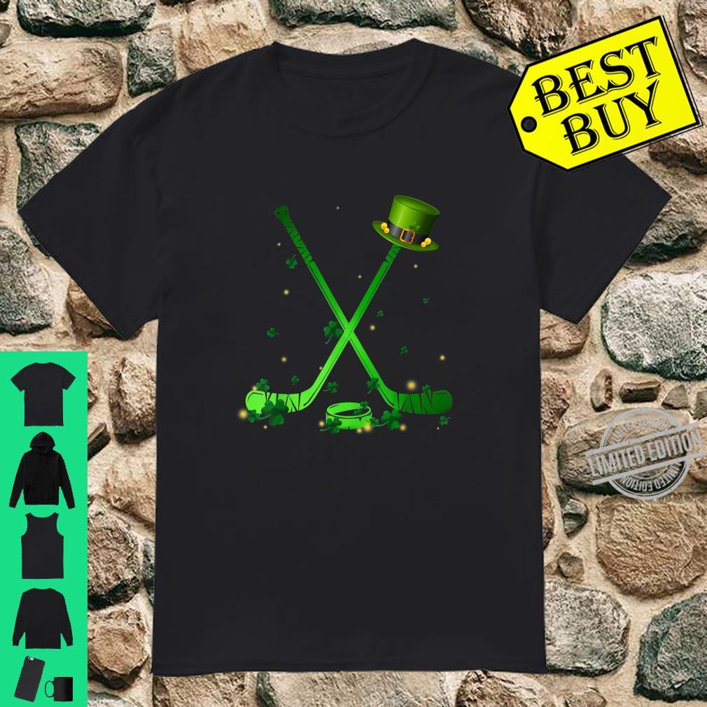Hockey Stick Shamrock Leprechaun Hat St Patrick's Day Shirt
