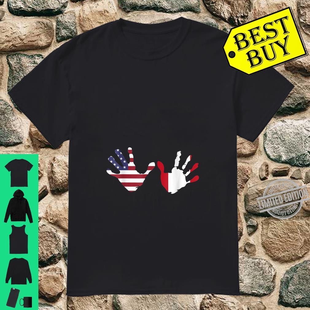Interracial Peruvian American Hands Pregnancy Announcement Shirt