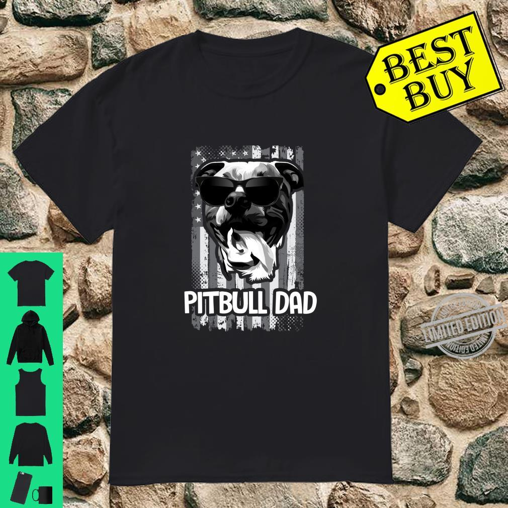 Pitbull Dad US Flag Dog Father Puppy Pittie Shirt