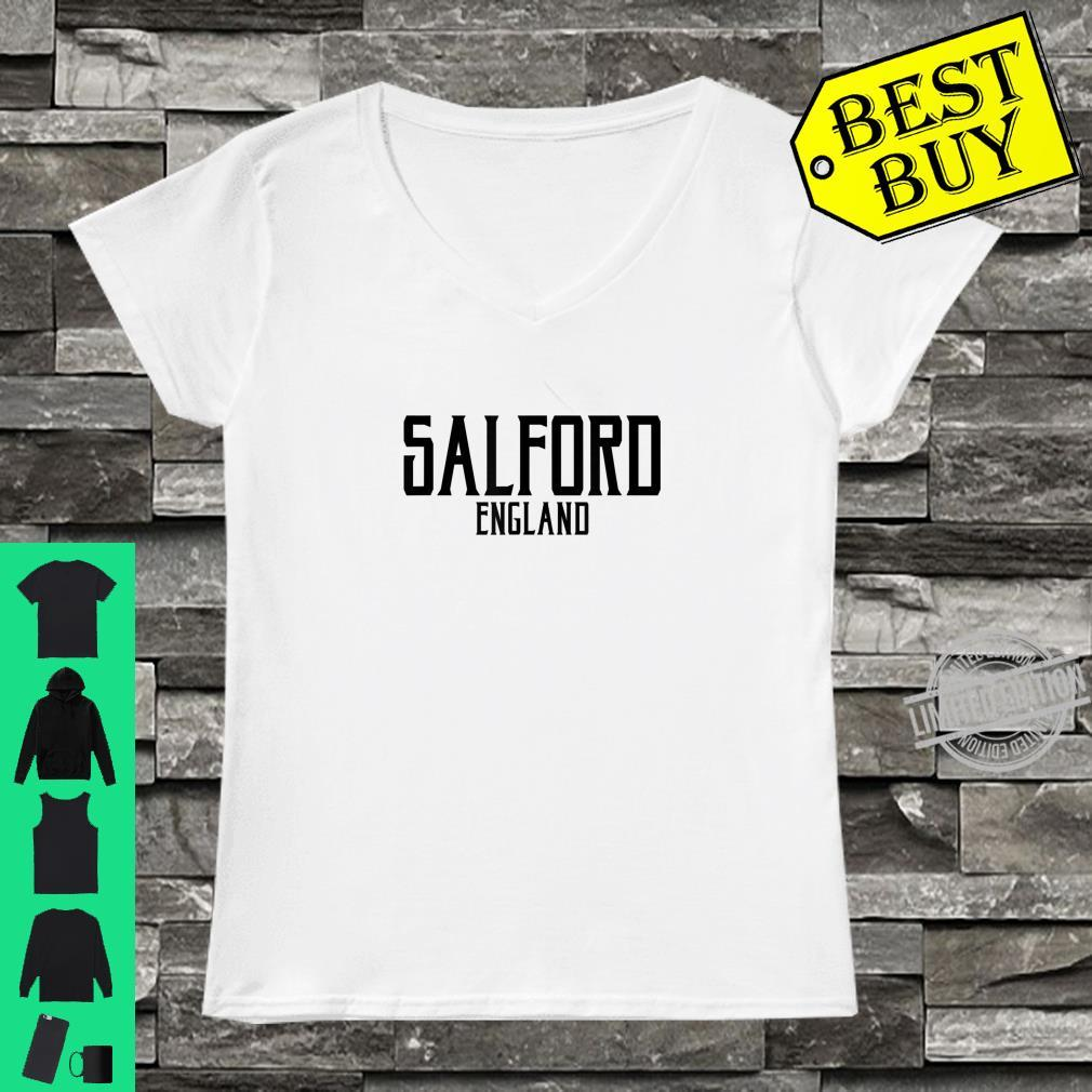 Salford England Vintage Text Black Print Shirt ladies tee