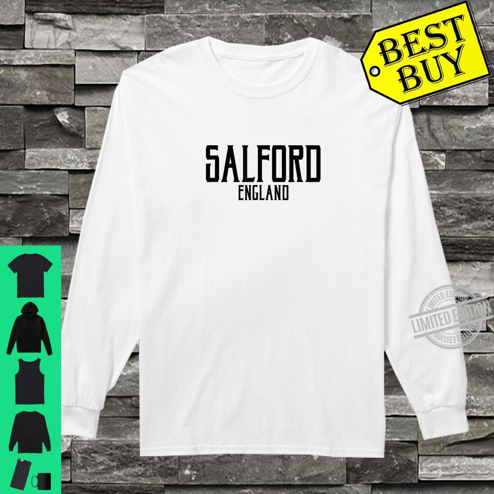 Salford England Vintage Text Black Print Shirt long sleeved