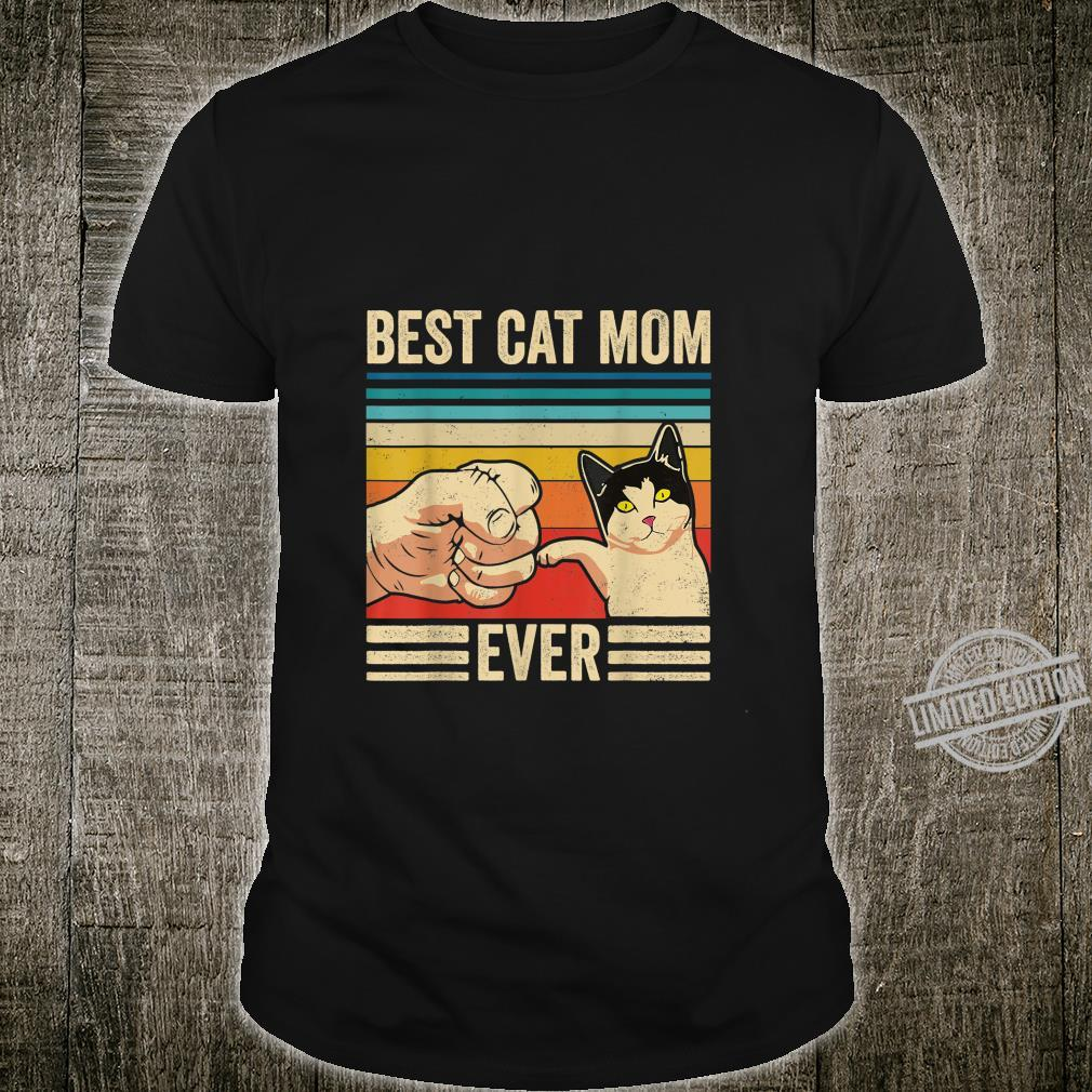 Vintage Best Cat Mom Ever Bump Fit Mothers Day Shirt